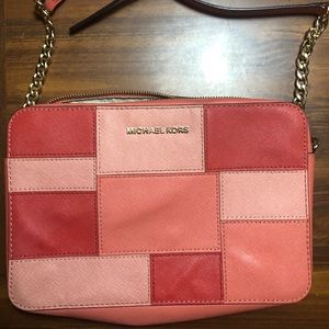 Michael Kors cross body bag pink patch design